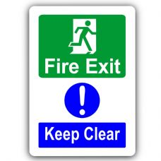 Fire Exit Keep Clear-Aluminium Metal Sign-150mmx100mm-Notice,Door,Warning,Health,Safety,Business